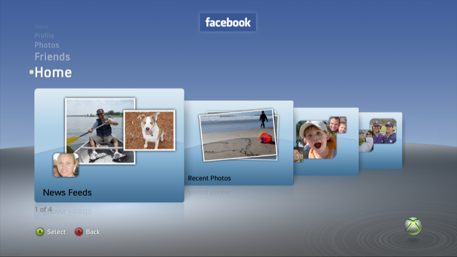 Xbox 360 Facebook Home screen