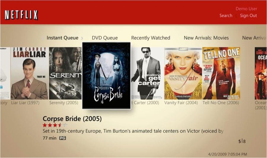 Windows Media Center Netflix movie browsing