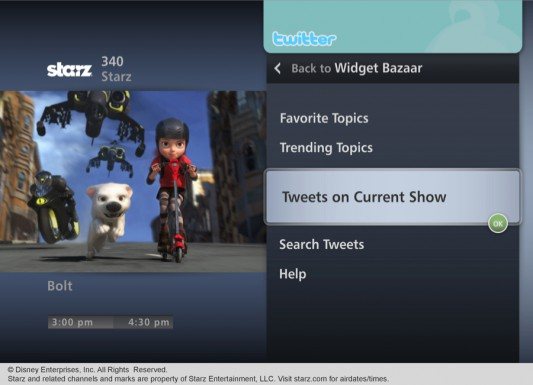 Verizon FiOS Twitter Widget Pane