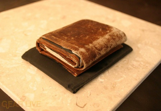 Tri-fold wallet atop Skinny Wallet