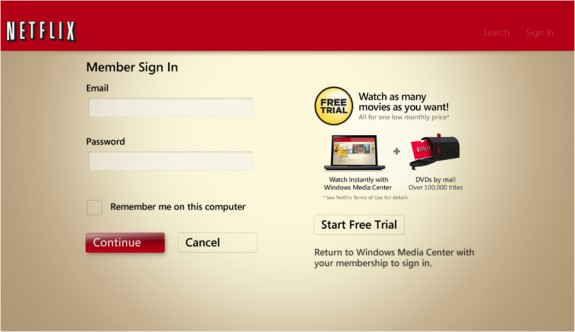 Windows Media Center Netflix login