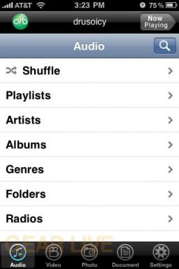 OrbLive Audio Menu on iPhone