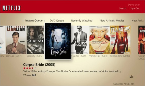 Windows Media Center Netflix movie browsing