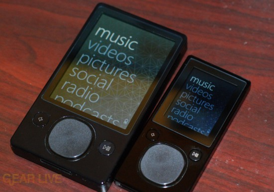 Zune 120 and Zune 16 powered on