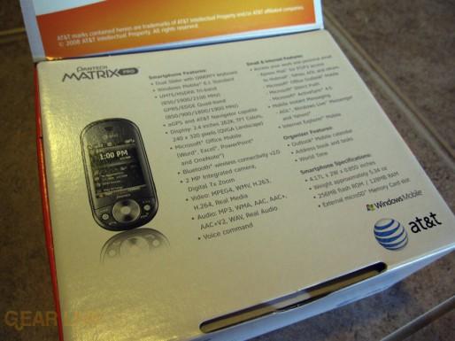 Pantech Matrix Pro Inner box info