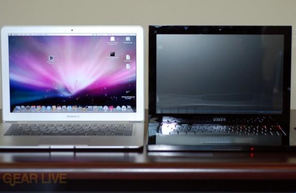 MacBook Air vs. Voodoo Envy 133 open