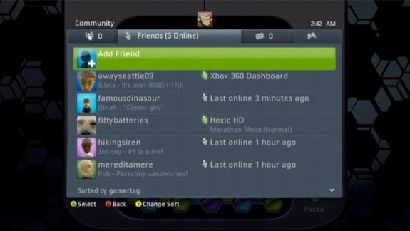 Xbox 360 Friends Sorted by Gamertag