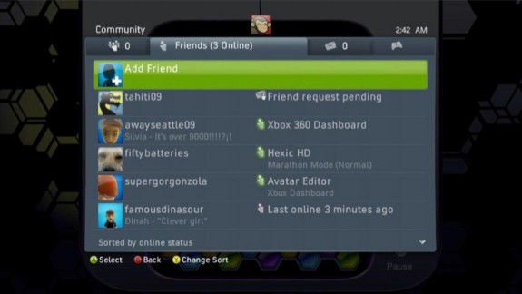 Xbox 360 Friends Sorted by Status