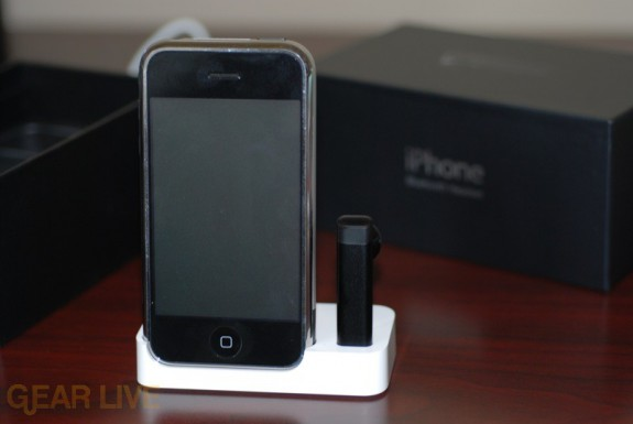 iPhone and Bluetooth Headset in dock