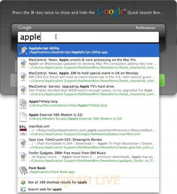 Google Desktop for Mac Search Results