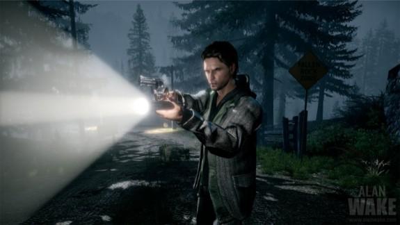 Alan Wake aiming flashlight and gun