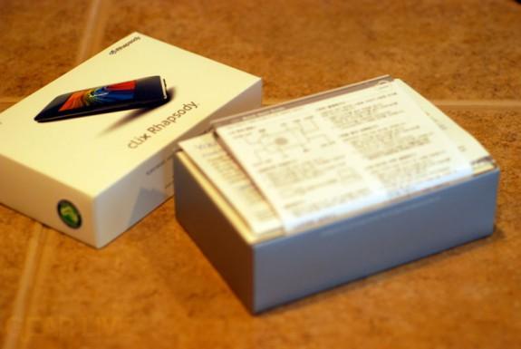 iriver clix Rhapsody Box Opened