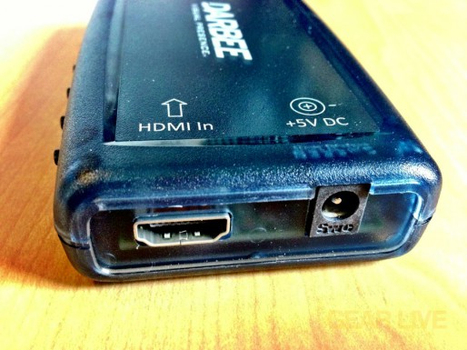 Darbee Darblet HDMI input and power port