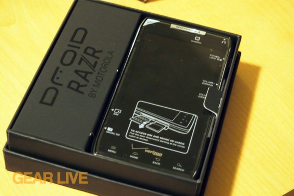 Droid RAZR box opened