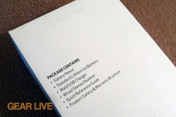 Galaxy Nexus package contents
