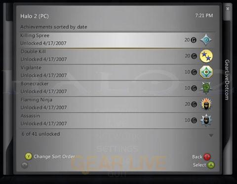 Halo 2 for Windows Vista Achievements Screen