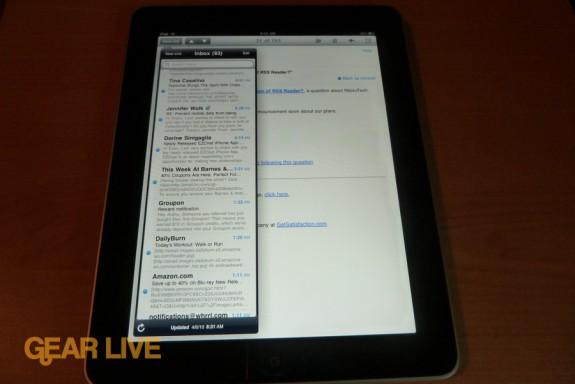 iPad apps: Mail portrait view