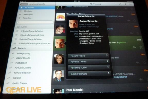 iPad apps: Twitterific overlay