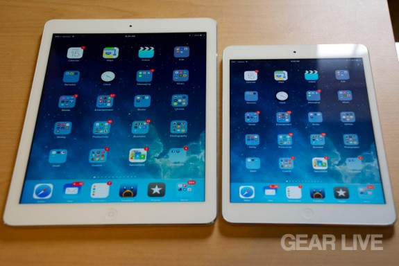 iPad mini Retina next to iPad Air