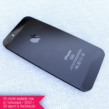 Black iPhone 5 rear 3D render