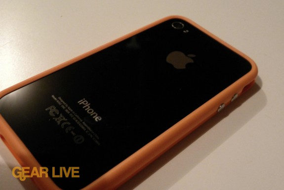 iPhone 4 back with orange Bumper Case