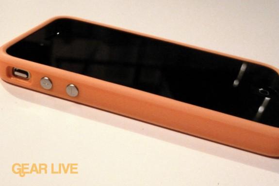 iPhone 4 side with orange Bumper Case