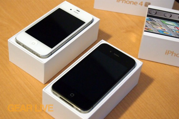 iPhone 4S black and white in box