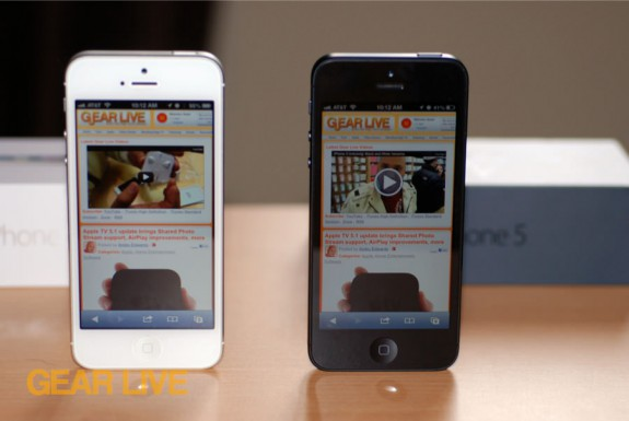 Black & White iPhone 5 standing next to each other