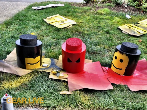 Painting the heads for LEGO Superhero Halloween costumes