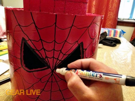 Drawing Spider-Man webbing on LEGO Superhero Halloween costumes