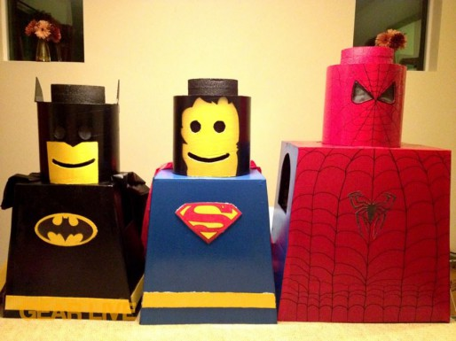Finished LEGO Superhero Halloween costumes