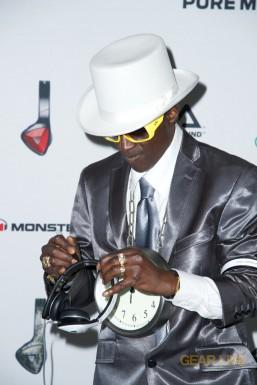 Flava Flav signing Monster DNA White Tuxedo headphones