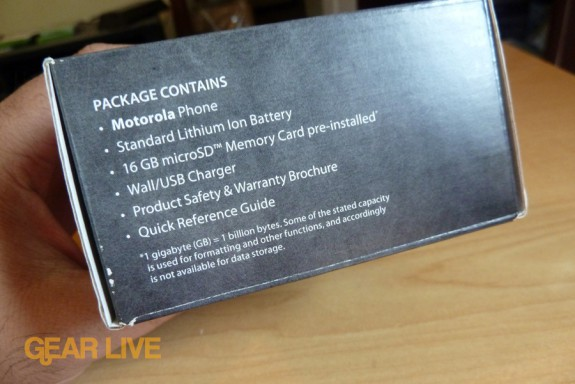 Motorola Droid X box contents