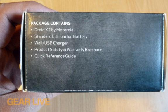 Motorola Droid X2 box contents