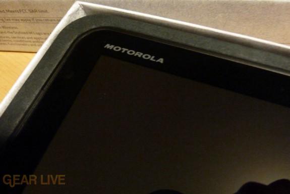 Motorola logo on the Xoom