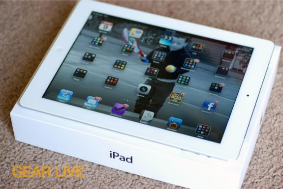 New iPad on box powered on