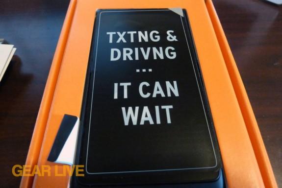 Texting and Driving Lumia 900 warning