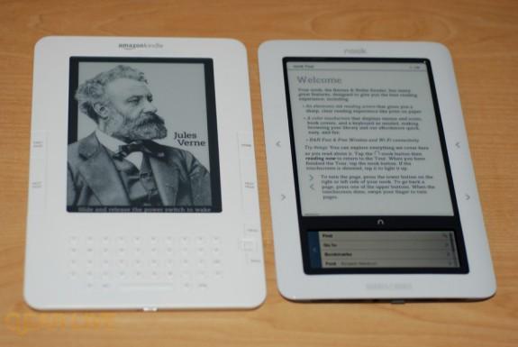 B&N nook next to Amazon Kindle