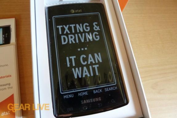 Samsung Captivate in box