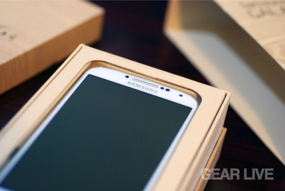 Samsung Galaxy S4 laying in box