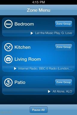 Sonos iPhone: Zone Menu