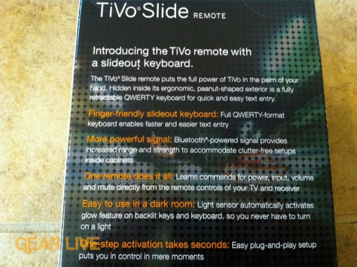 Back of TiVo Slide remote box