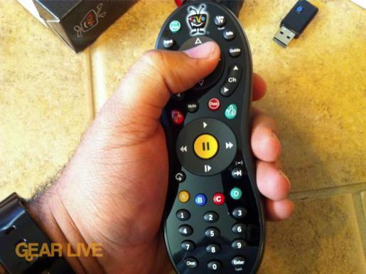 TiVo Slide remote in-hand