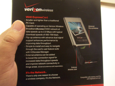 Verizon V640: The Back of the Box
