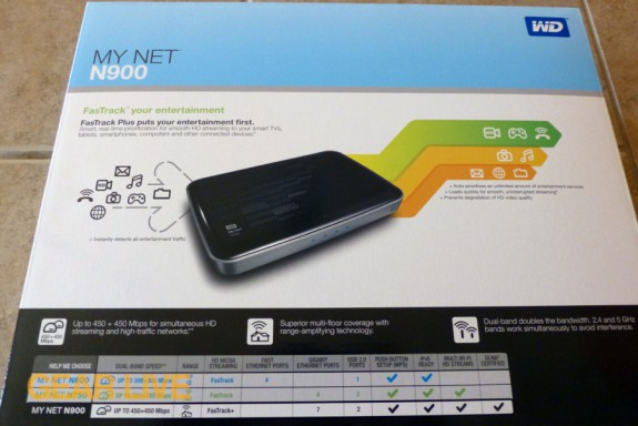 Western Digital My Net N900 HD router box rear