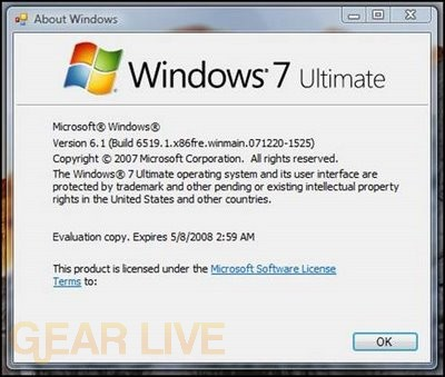 Windows 7 Ultimate about pane