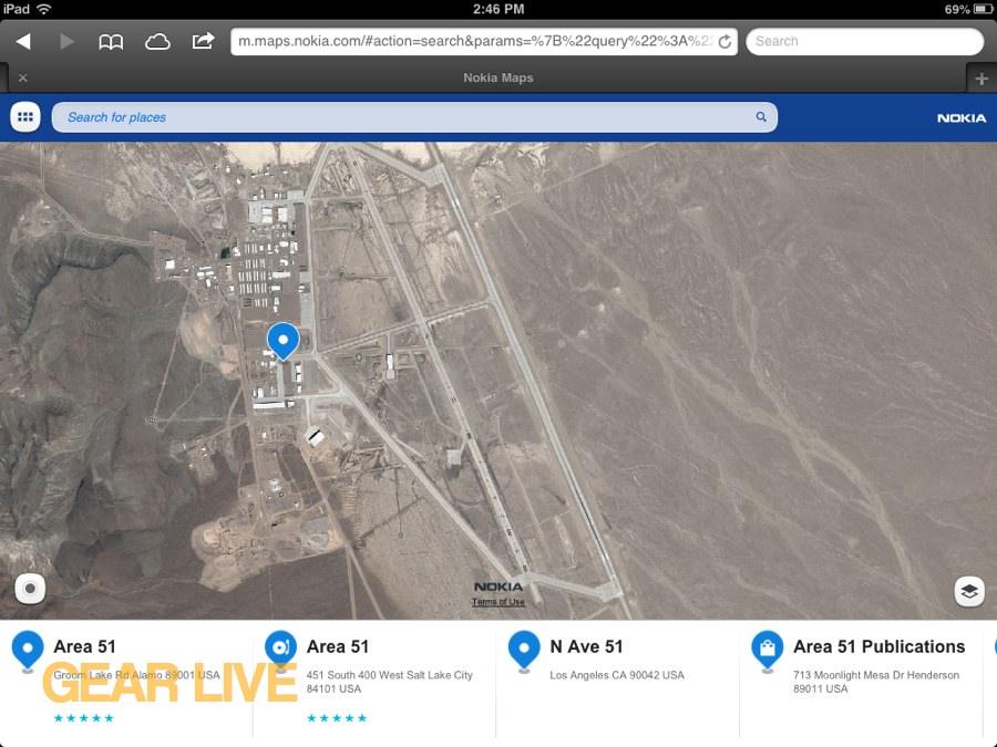 Nokia Maps Area 51 - Apple Maps vs Nokia Maps vs Google Maps