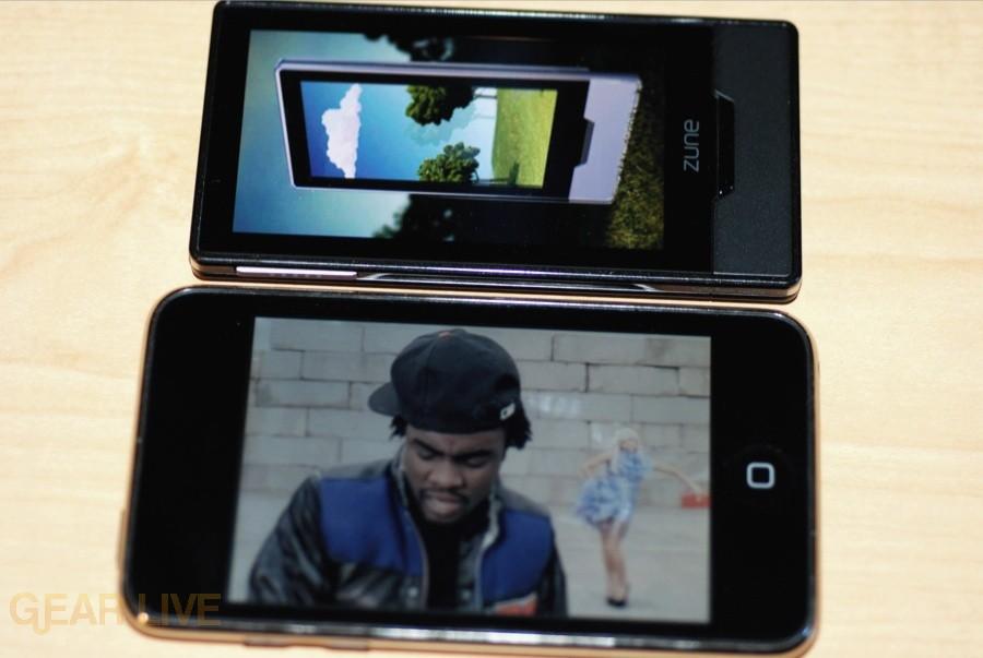 Zune HD vs. iPod touch screen comparison 2